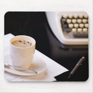Typewriter and a cup of coffee mouse pad