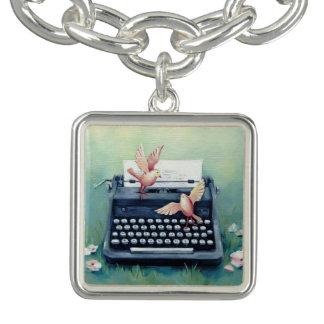 Typewriter & Bird Silver Charm Bracelet
