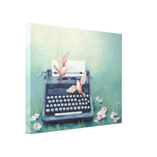 Typewriter & Birds Canvas Print