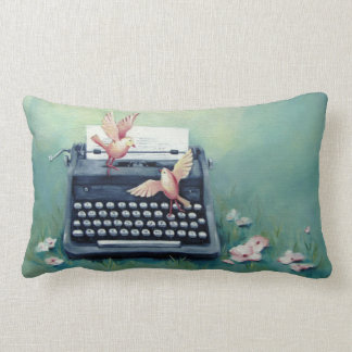 Typewriter & Birds Teal Green Lumbar Pillow