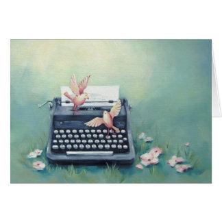 Typewriter & Birds Whimsical Art Card