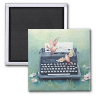 Typewriter & Birds Whimsical Magnet