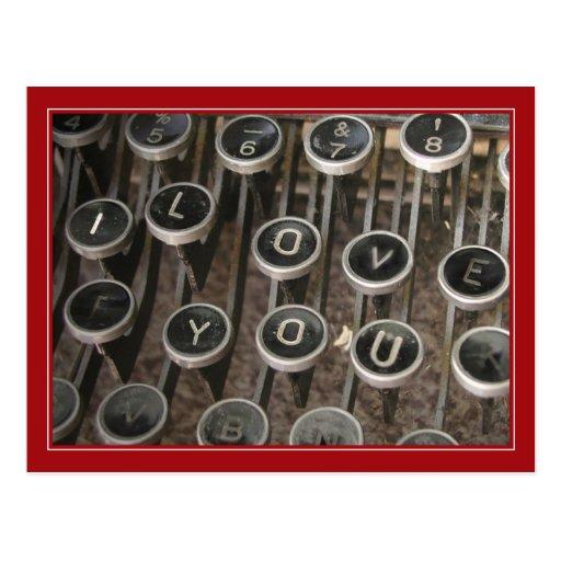 "Typewriter Keys ""I Love You"" Postcards"