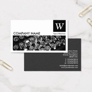 Typewriter Keys - Monogram and Panel - Black Business Card