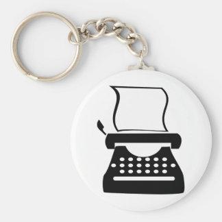 Typewriter - Manual Typing Old School Writing Basic Round Button Keychain