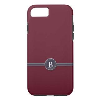 Typewriter Monogram Black Line Button on Burgundy iPhone 8/7 Case