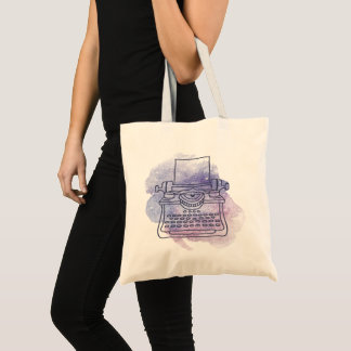 Typewriter on Watercolor Wash Background Tote Bag