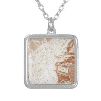 typewriter silver plated necklace