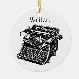 Typewriter Writer Round Ceramic Ornament