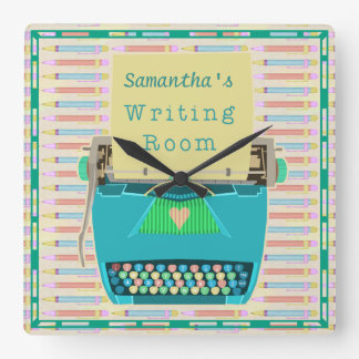 Typewriter Writing Room Personalized Author Blue Square Wall Clock