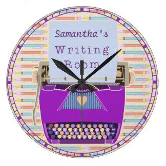 Typewriter Writing Room Personalized Author Large Clock