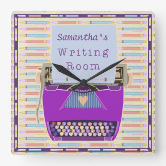 Typewriter Writing Room Personalized Author Purple Square Wall Clock