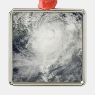 Typhoon Morakot over Taiwan Silver-Colored Square Ornament