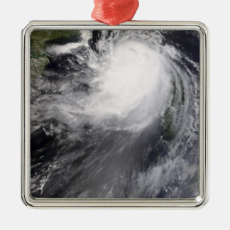 Typhoon Nuri approaching China Silver-Colored Square Ornament