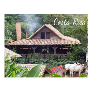 Typical Costa Rican Home and Oxcart Postcard