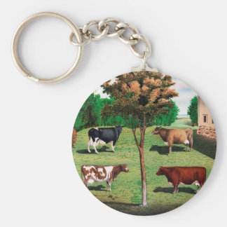Typical Cows Basic Round Button Keychain