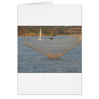 Typical italian fishing net along the river greeting card