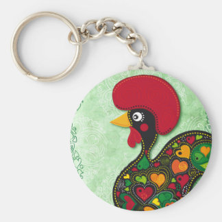 Typical Rooster of Barcelos Basic Round Button Keychain