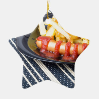 Typical Russian dish - fried potatoes and sausage Ceramic Star Ornament