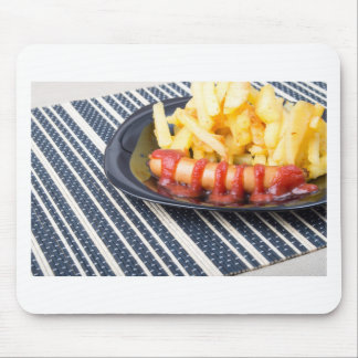 Typical Russian dish - fried potatoes and sausage Mouse Pad