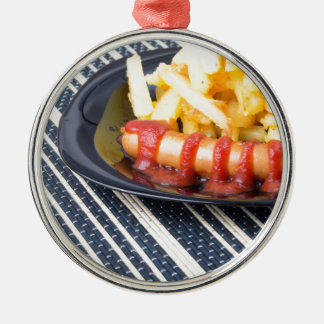Typical Russian dish - fried potatoes and sausage Silver-Colored Round Ornament