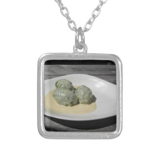 Typical South Tyrolean dish of canederli pasta Silver Plated Necklace