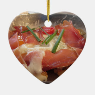Typical South Tyrolean dish served pan fried Ceramic Heart Ornament