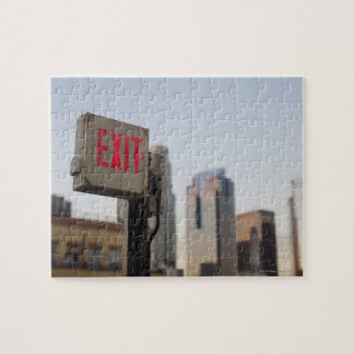 typically exit sign glows bright in the blue jigsaw puzzle