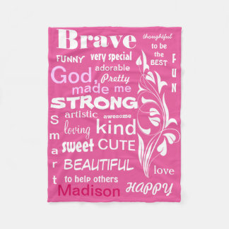 Typographic ART Design, Personalize for a Girl Fleece Blanket