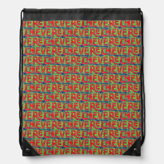 Typographic Graffiti Pattern Drawstring Bag