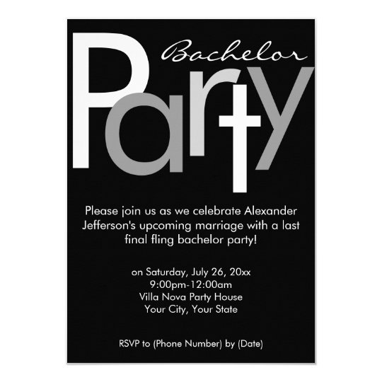 Typographic Grey Black Bachelor Party Invitation