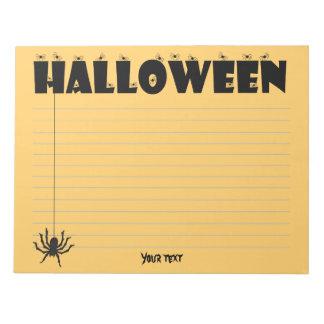 "Typographic ""HALLOWEEN"" Header with Creepy Spiders Notepad"