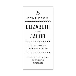 Typographic Nautical Couple's Return Address Label Rubber Stamp