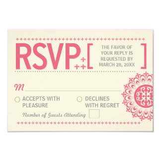 Typographic Ornamental Pink Wedding Reply Card