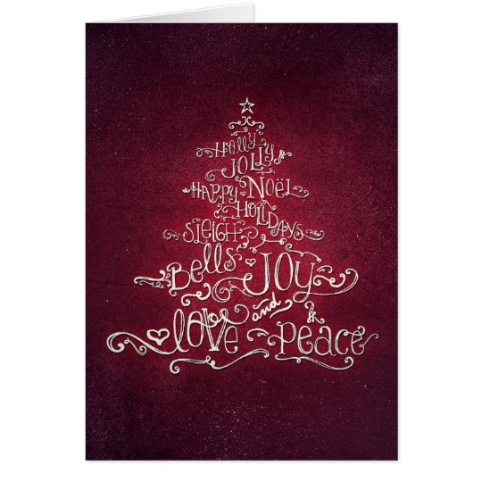 Typographic Red & Silver Christmas Tree Card