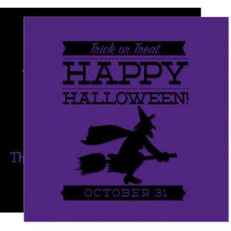 "Typographic retro Halloween 5.25"" Square Invitation Card"
