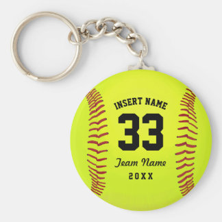 Typographic Softball Team Basic Round Button Keychain