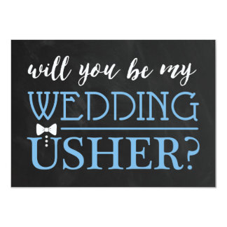 "TYPOGRAPHIC WILL YOU BE MY USHER | GROOMSMAN 4.5"" X 6.25"" INVITATION CARD"