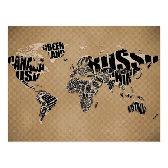 Typographic World  Map Postcard