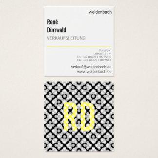 Typographie, gelb, schwarz, Cool und Dezent Square Business Card