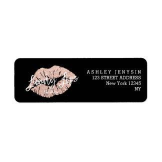 Typographie rose de lèvres de scintillement d'or étiquettes d'adresse retour