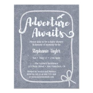 Typography Adventure Awaits Nautical Baby Shower Card