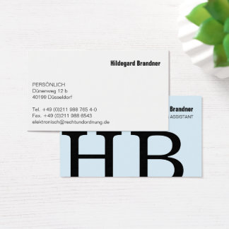Typography and color business card