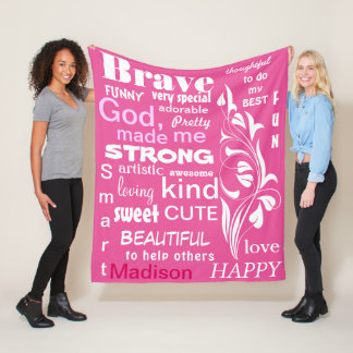 Typography ART Design, Personalize for a Girl Fleece Blanket