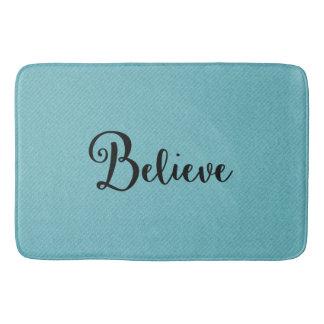 "Typography ""Believe"" Black on Blue | Bath Mat"