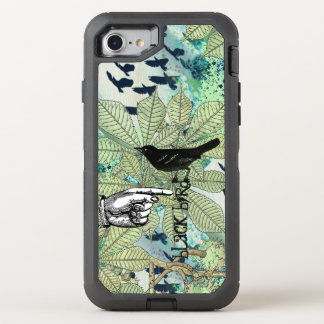 Typography Blackbird Watercolor Texture Blue Green OtterBox Defender iPhone 8/7 Case