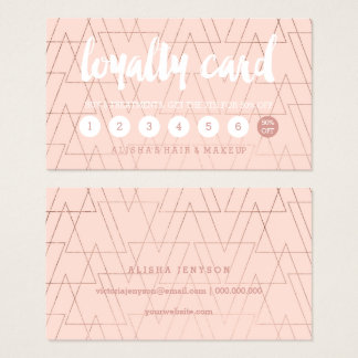Typography blush rose gold triangles loyalty card