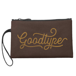 Typography Brown Chocolate Leather Classic Suede Wristlet