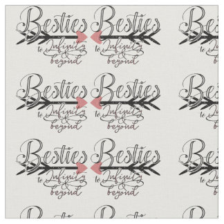 typography calligraphic pattern Best friends BFF Fabric