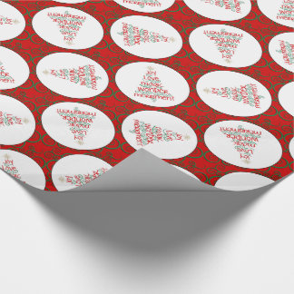 Typography Christmas Tree Red & Green & White Wrapping Paper